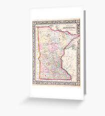 Vintage Map of Minnesota (1864) Greeting Card