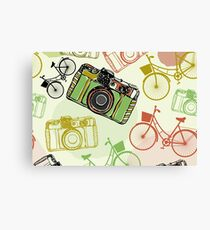 Vintage camera and bicycles Canvas Print