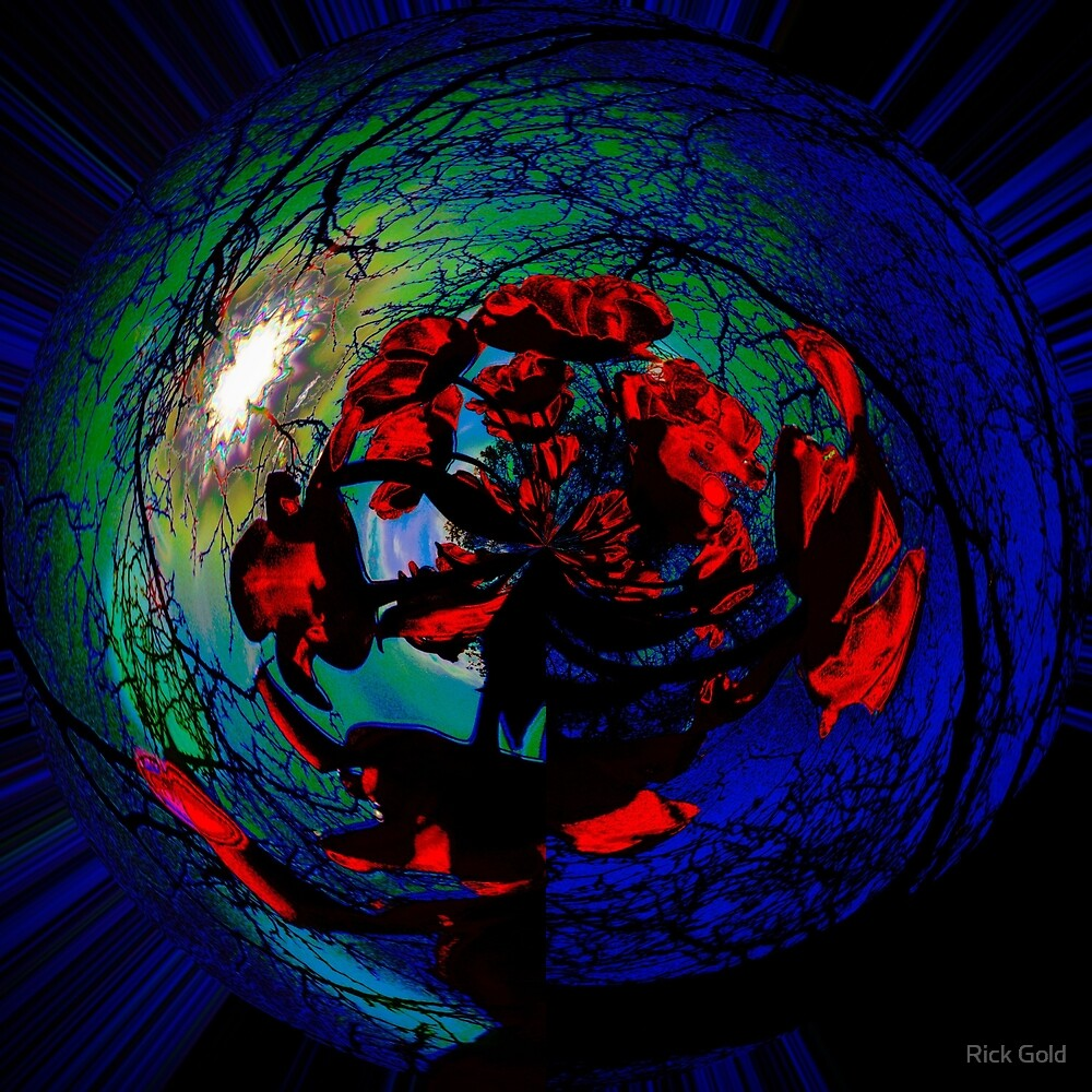 Sun Mandala With Tulips Mandala Recursive by Rick Gold