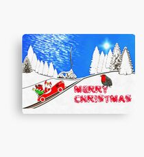 Santa's Got a Brand New Red Sports Car Canvas Print