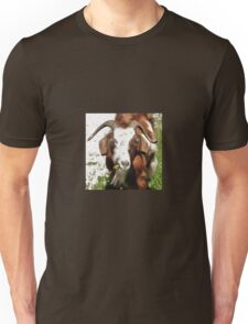 Whimsical Portrait Horned Goat  Grazing T-Shirt