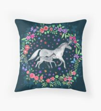 Mama and Baby Unicorn Throw Pillow