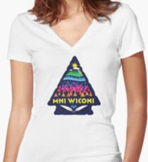 Mni Wiconi Shirt Women's Fitted V-Neck T-Shirt