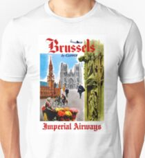 IMPERIAL AIRWAYS; Fly to Brussels Vintage Advertising Print Unisex T-Shirt