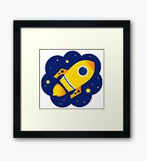 Yellow vector Rocket in space. Cartoon Illustration Framed Print