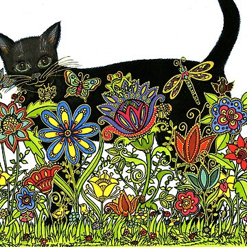 BLACK CAT with FLOWERS AND FRIENDS  by ArtHarmony