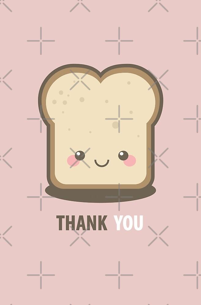 Happy Kawaii Slice of Bread Thank You Card by Lisa Marie Robinson