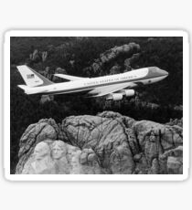 Air Force One flying over Mount Rushmore Sticker