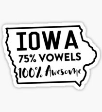 Iowa. 75% Vowels. 100% Awesome Sticker