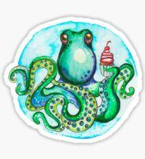 Octopus eating sweet cake Sticker