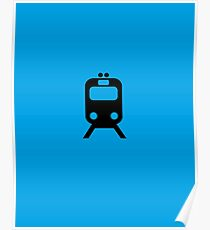 Blue Line CTA Inspired Chicago Elevated Train Pattern Poster