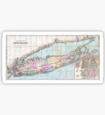 Vintage Map of Long Island (1880)  Sticker