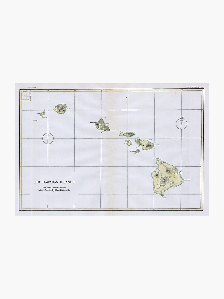 image regarding Printable Map of Hawaiian Islands referred to as Traditional Map of Hawaii (1883) Photographic Print