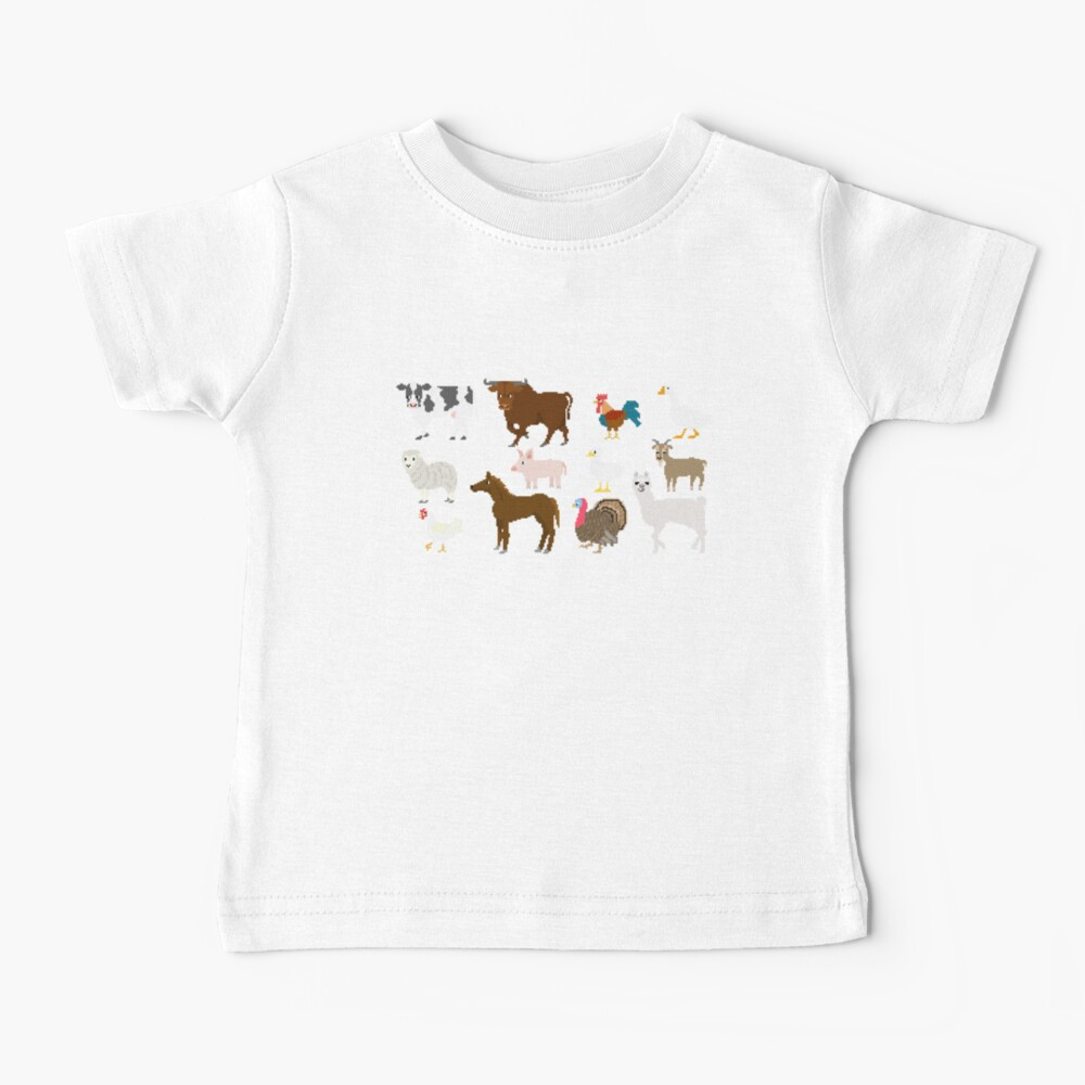 Farm Animals - The Kids' Picture Show - Pixel Art Baby T-Shirt