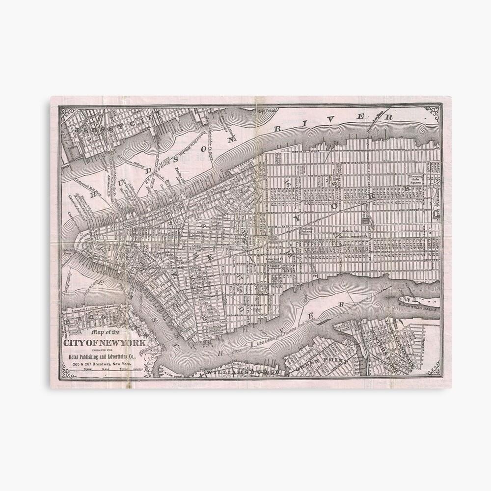Mapa vintage de la ciudad de Nueva York (1886) Lienzo