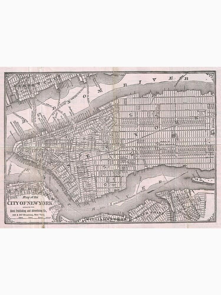 Mapa vintage de la ciudad de Nueva York (1886) de BravuraMedia