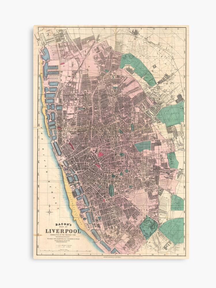 Vintage Map of Liverpool England (1890) | Canvas Print