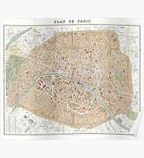 Vintage Map of Paris (1892) Poster