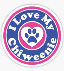 I LOVE MY CHIWEENIE DOG HEART I LOVE MY DOG PET PETS PUPPY STICKER STICKERS DECAL DECALS Sticker