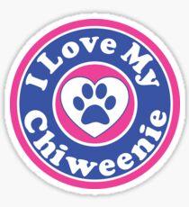 I LOVE MY CHIWEENIE DOG HEART I LOVE MY DOG PET PETS PUPPY STICKER STICKERS DECAL DECALS Sticker