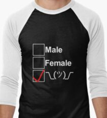 Camiseta ¾ bicolor para hombre ¯ \ _ (ツ) _ / ¯ (texto blanco)