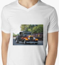 1932 Ford 'Fenders and Flames' Coupe Mens V-Neck T-Shirt