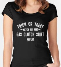 Trick or treat for car people - 3 white Women's Fitted Scoop T-Shirt