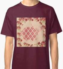 Rustic,collage of vintage pattern,grunge,floral,flowers,damask,beige,deep red,green,elegant,chic,shabby chic,victorian Classic T-Shirt