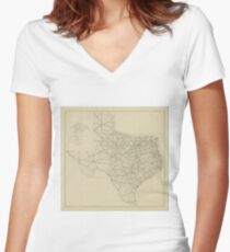 Vintage Texas Highway Map (1919) Women's Fitted V-Neck T-Shirt