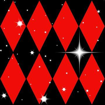 Red n Black Diamonds With Stars Pattern by Harleythemk