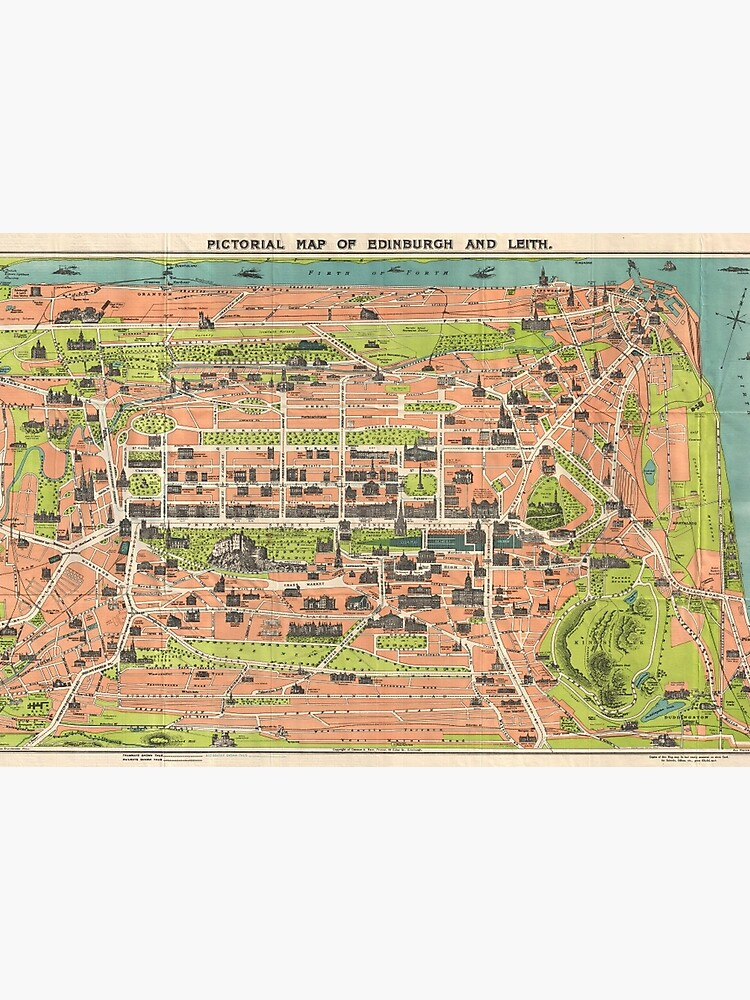 Vintage Map of Edinburgh Scotland (1935)\
