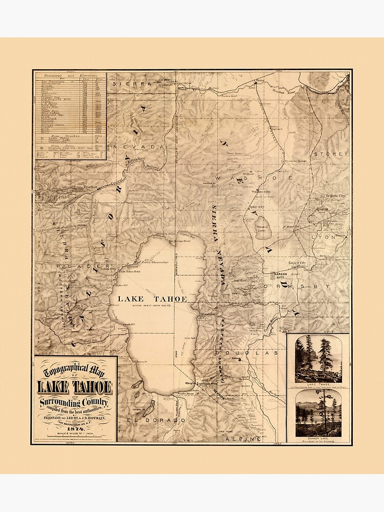 Map Of Lake Tahoe 1874 by mollyfare