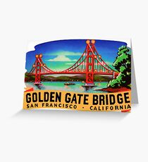 Golden Gate Bridge San Francisco California Vintage Travel Decal Greeting Card