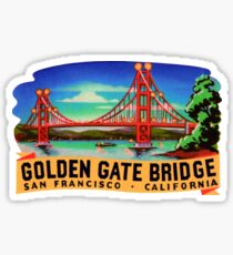 Golden Gate Bridge San Francisco California Vintage Travel Decal Sticker