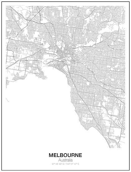 melbourne australia minimalist map by resfeber