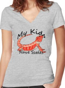 My Kids Have Scales Red Bearded Dragon Women's Fitted V-Neck T-Shirt