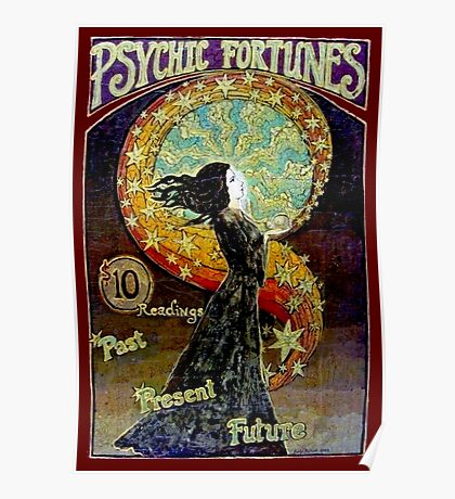 PSYCHIC FORTUNES; Vintage Fortune Teller Advertising Print Poster