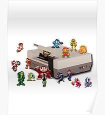 Nintendo 8-bit retro throwback Poster