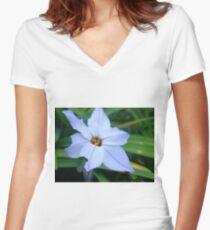 Blue Flower Women's Fitted V-Neck T-Shirt