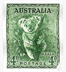 Póster 1940 Australia Koala Postage Stamp