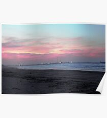 Redcar Beach sunset Photography photo Poster