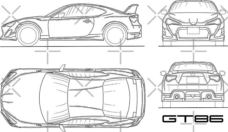 The gt86 blueprint stickers by rogue design redbubble the gt86 blueprint by rogue design malvernweather Choice Image