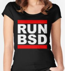 RUN BSD - Parody Design for Unix Hackers / Sysadmins Women's Fitted Scoop T-Shirt