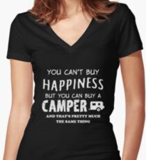 YOU CAN'T BUY HAPPINESS BUT YOU CAN BUY A CAMPER Women's Fitted V-Neck T-Shirt