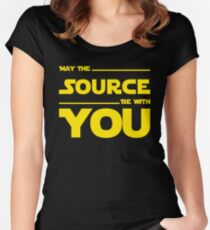 May The Source Be With You - Yellow/Dark Parody Design for Programmers Women's Fitted Scoop T-Shirt
