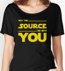 May The Source Be With You - Yellow/Dark Parody Design for Programmers Women's Relaxed Fit T-Shirt