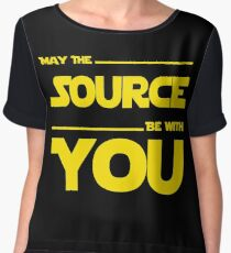 May The Source Be With You - Yellow/Dark Parody Design for Programmers Chiffon Top