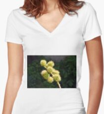 Natural green branch with spikes Women's Fitted V-Neck T-Shirt