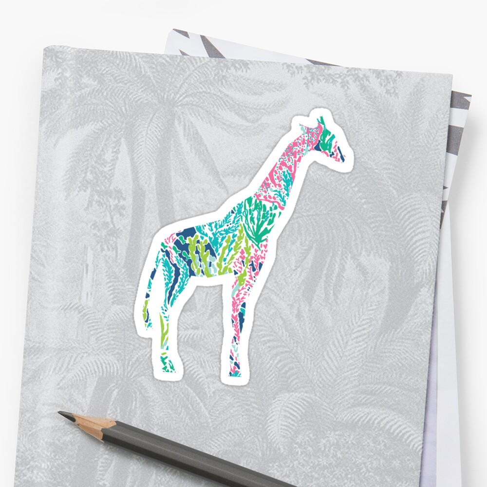 Quot Lilly Pulitzer Geometric Giraffe Quot Sticker By Smalltownnc