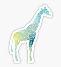 Blue and Green Watercolor Geometric Giraffe Sticker